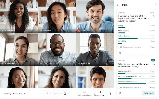 Enquetes en stemmen in google meet
